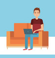 young man in the sofa avatar character vector image