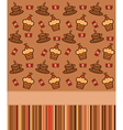 Cupcakes coffee background vector image