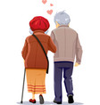 old couple in love walking together vector image