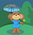 Cute monkey standing on green meadow with a flower vector image