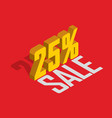 25 percent off sale golden-yellow object 3d vector image vector image