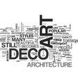 art deco and architecture text word cloud concept vector image vector image