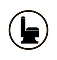 black flush toilet icon in circle isolated on vector image
