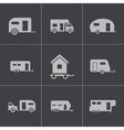 black trailer icons set vector image vector image