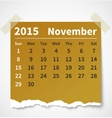 Calendar november 2015 colorful torn paper vector image vector image