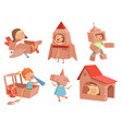 cardboard kids playing childrens games with paper vector image vector image