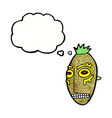 cartoon tribal mask with thought bubble vector image