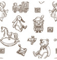 child toys rabbit and fluffy plush bear seamless vector image vector image