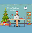 christmas and new year in modern office vector image vector image