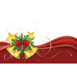 christmas greeting card red ribbon and golden vector image