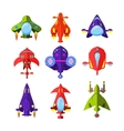 Colourful Cartoon Rockets and Spaceships vector image