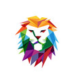 creative abstract colorful lion head logo vector image vector image