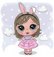 cute cartoon girl on a cloud vector image