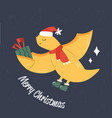 cute flying dino in holiday clothing and greetings vector image vector image
