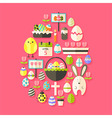 easter flat icons set egg shaped with shadow over vector image vector image