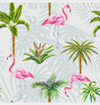 flamingo palm trees cactus seamless grey vector image vector image