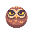 funny angry brown owl face flat icon vector image