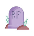 gravestone cemetery icon trick or treat happy vector image