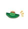green mexican sombrero isolated on white vector image vector image