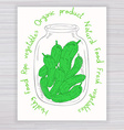 hand drawn poster with jar full of cucumber with vector image vector image