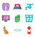 house washing icons set cartoon style vector image vector image
