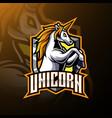 jumping unicorn mascot logo design vector image vector image