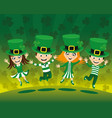 kids in costumes for saint patricks day vector image