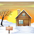 Log cabin and dead tree vector image vector image
