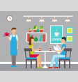 man and woman in cafeteria coffeehouse vector image vector image