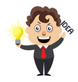 man with lighting bulb on white background vector image vector image
