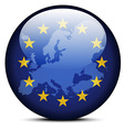 Map on flag button of Continent of Europe vector image vector image