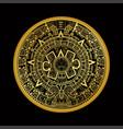 mayan aztec calender on black back vector image