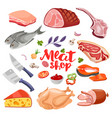 meat flavoring and cheese flat food icons set vector image vector image