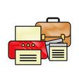 office printer business briefcase and note paper vector image
