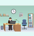 office room interior with employee vector image vector image