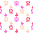 pink pineapple seamless fruit pattern vector image vector image