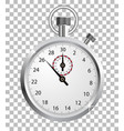 realistic stopwatch isolated on checkered vector image vector image