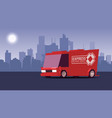 red delivery truck on city landscape background vector image
