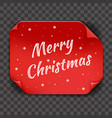 red paper page curl christmas template transparent vector image