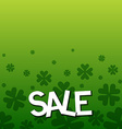 SALE text as Saint Patricks Day sale badge tag and vector image
