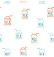 seamless background pattern with milk carton cute vector image