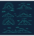 Set mountains linear style vector image vector image