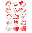 set of gift cards with red gift bows and hearts vector image