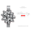 silver bow card realistic special vector image vector image