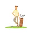 smiling man golfer with golf equipment vector image