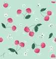 spring seamless pattern with cherry and blossom vector image