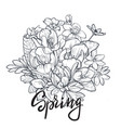 spring text hand lettering with hand drawn flower vector image vector image
