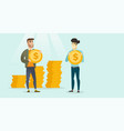 two multiethnic businessmen with dollar coins vector image