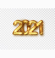 2021 golden realistic numbers on transparent vector image