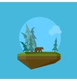 a cartoon flying island with wild nature forest vector image